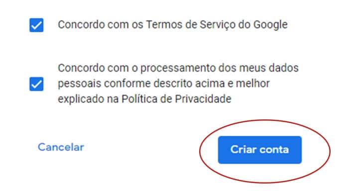 concordo termo servico google