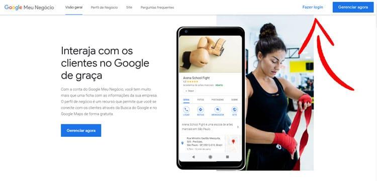 google meu negocio capa login