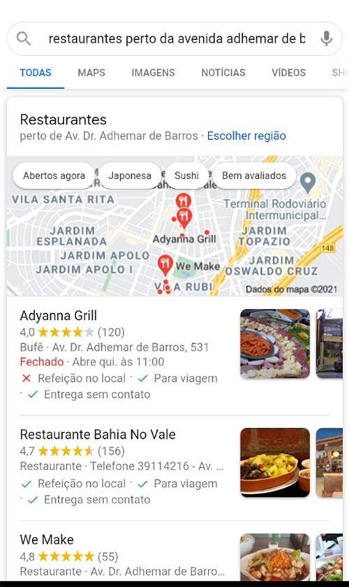 pesquisa restaurante google meu negocio